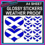 LOVE SCOTLAND HEART FLAG GRAPHICS CAR BUMPER WEATHER PROOF STICKERS MIXED SIZES